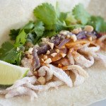 Vietnamese-Style Pork Skin Tacos with Chipotle Nu'ó'c  Mȃm and Toasted Rice