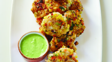 Shrimp and Corn Fritters with Roasted Poblano Sour Cream