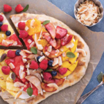 BREAKFAST PIZZA WITH GOAT CHEESE & TROPICAL FRUIT