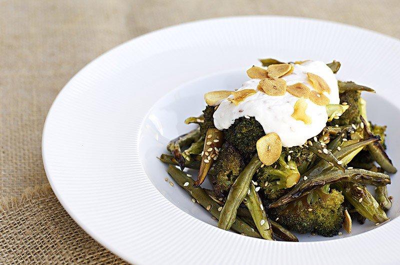 Roasted Broccoli & Green Beans with Yogurt dressing & Garlic chi