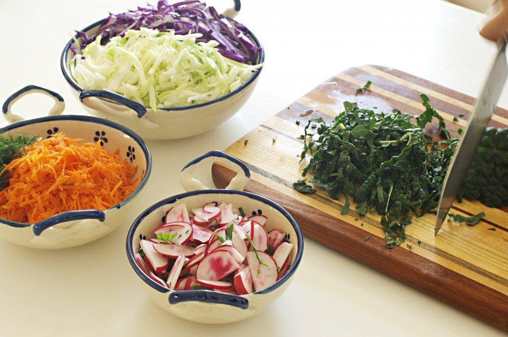 Slicing Vegetables to make Rainbow Sauerkraut