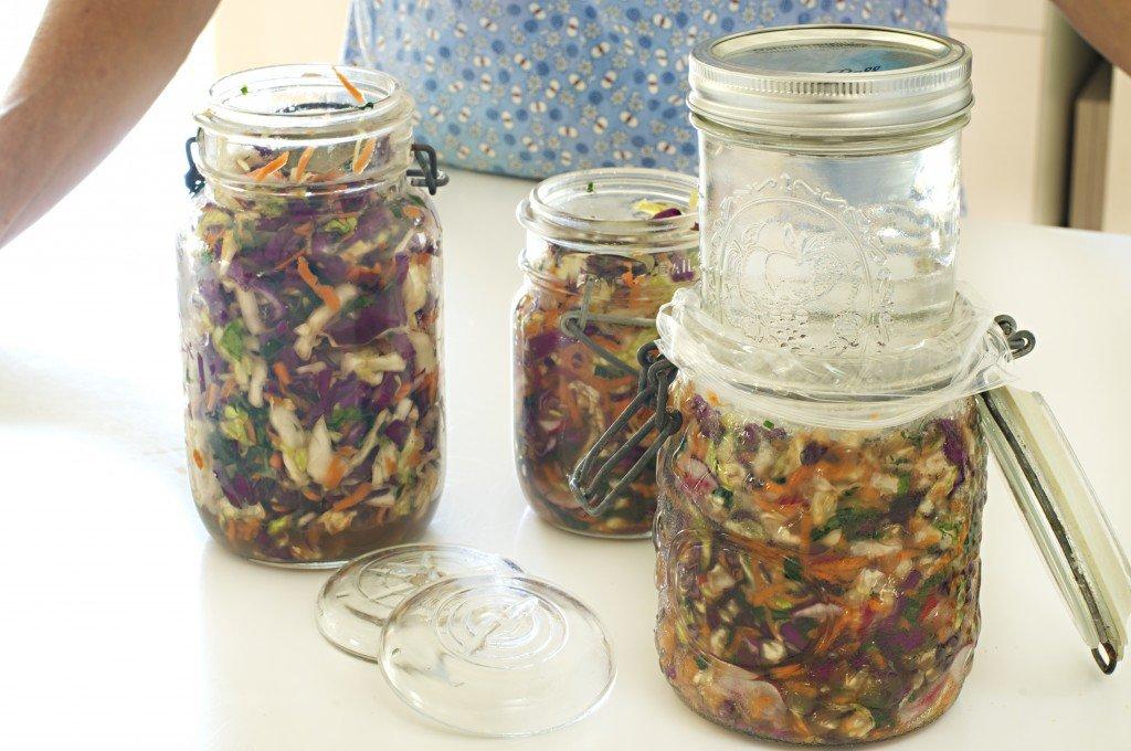 Weights press down on the Rainbow Sauerkraut